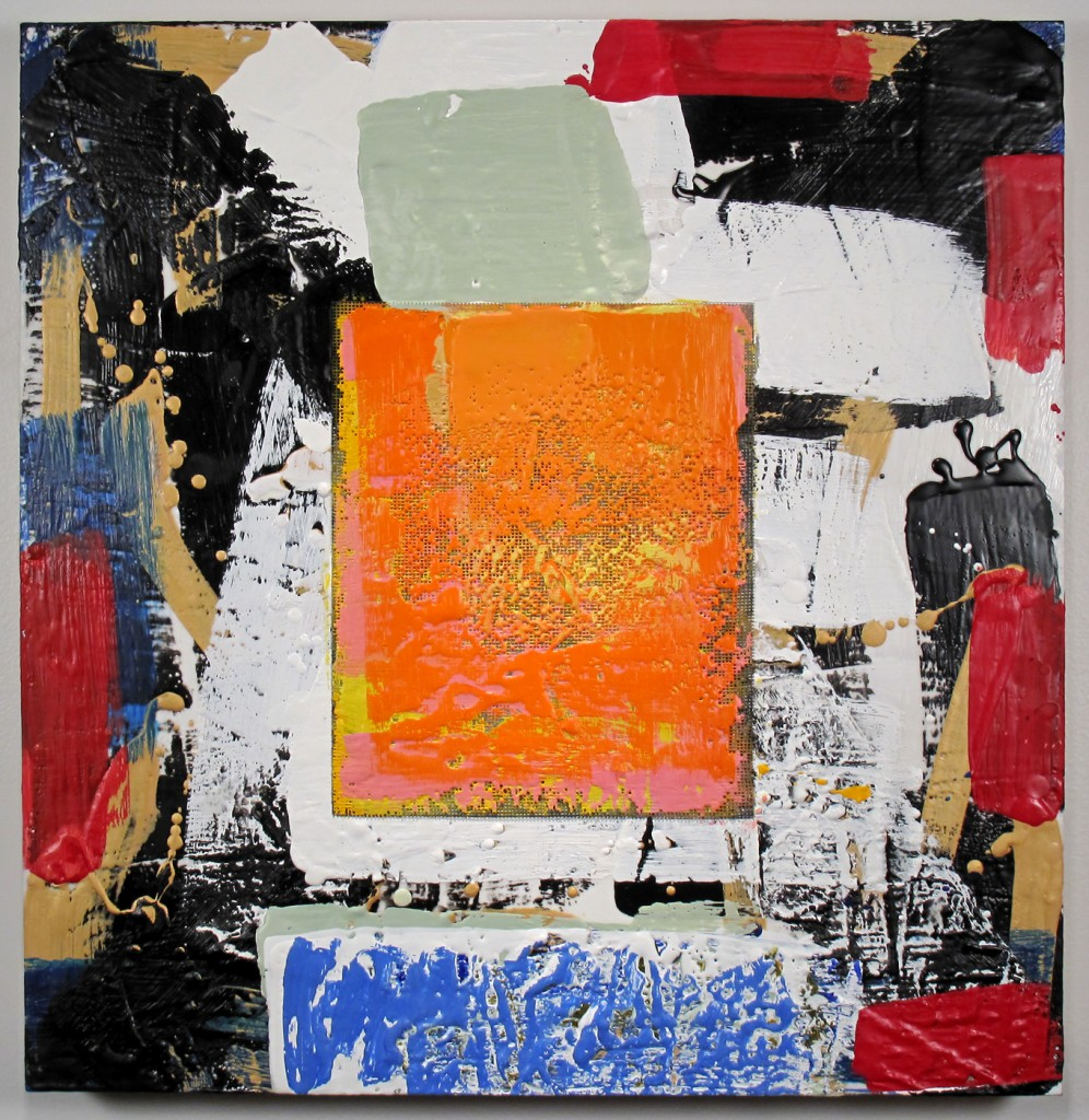 Jazzy Orange, encaustic and mixed media on panel, 23 by 22.5 inches