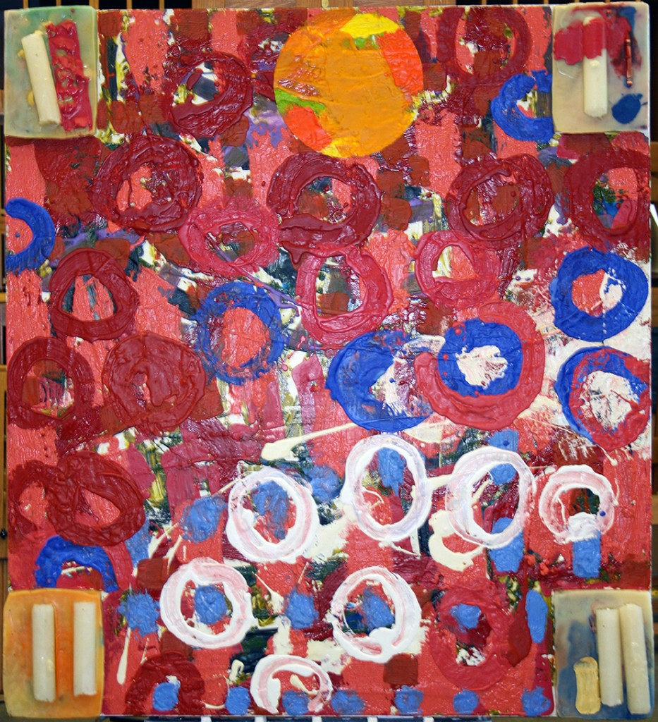Big Red Raft III, 48 by 43.75 by 2.5 inches, encaustic and candles on panels, 2013