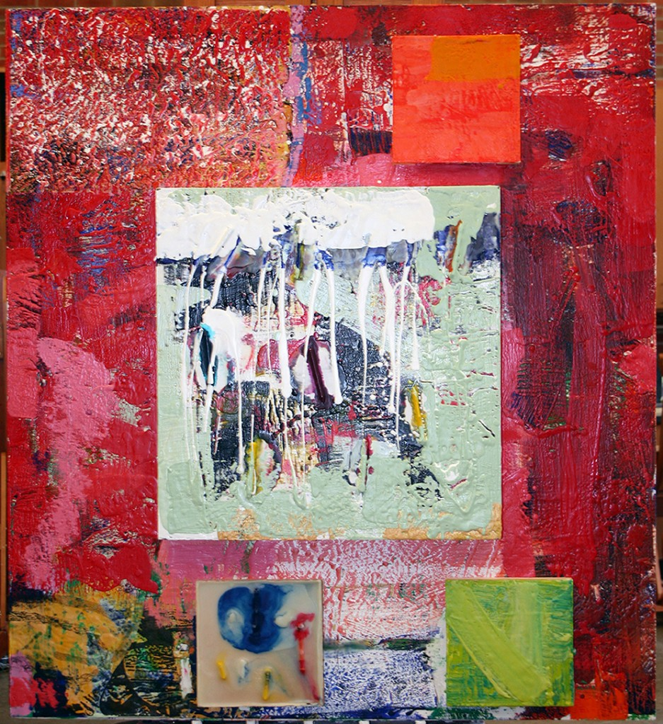 Neighborhood, encaustic on several panels, 48 by 43.75 by 3 inches, 2013